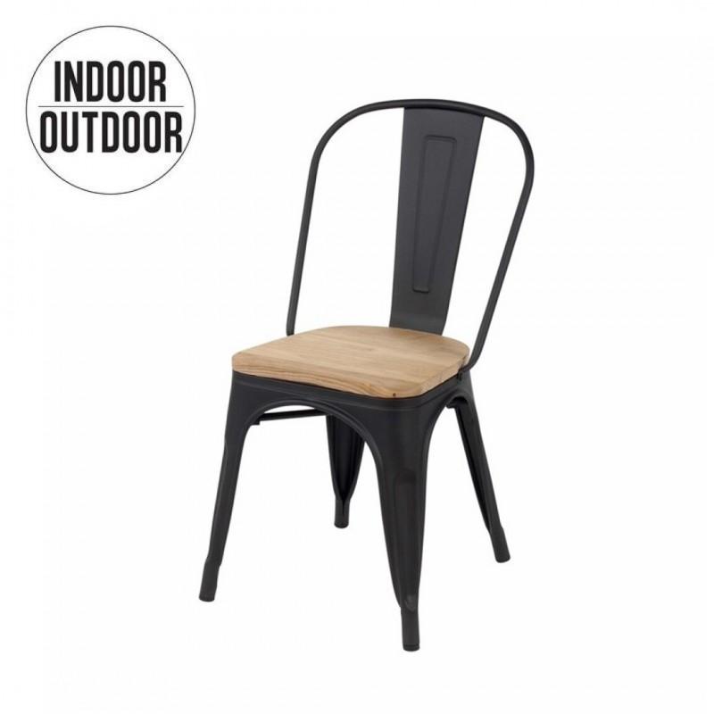 chaise industrielle de salle a manger assise bois inspiree tolix couleur noir collection retro