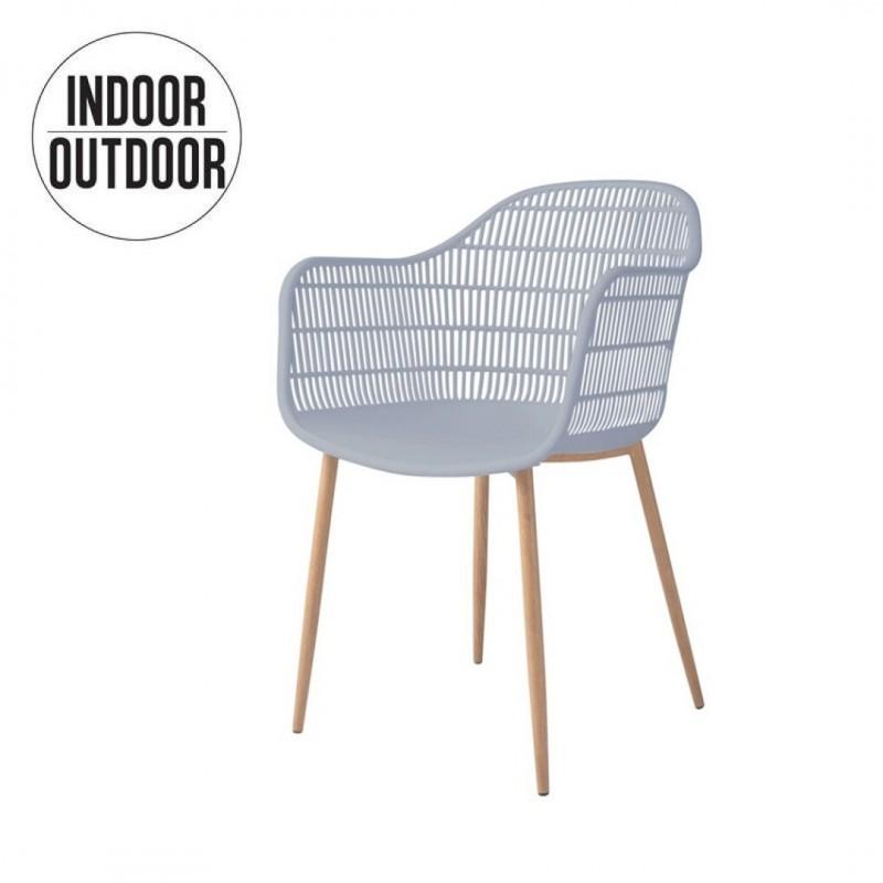 chaise avec accoudoir interieur exterieur couleur gris collection joyce