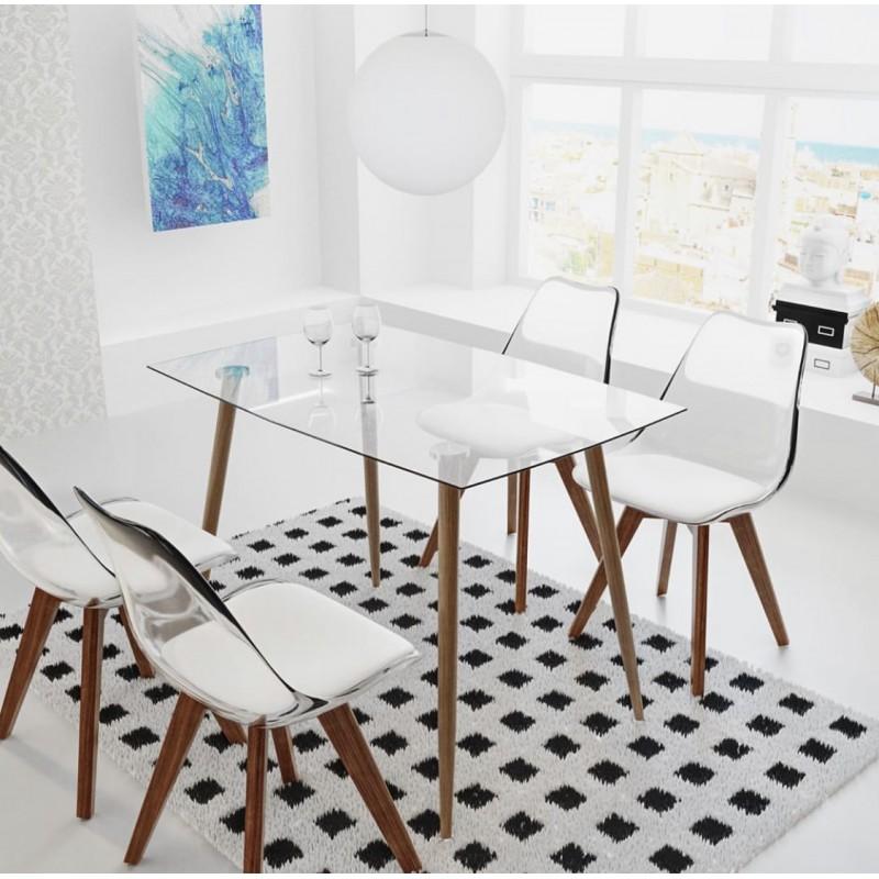 chaise type scandinave transparente avec pieds bois hetre couleur blanc collection ice