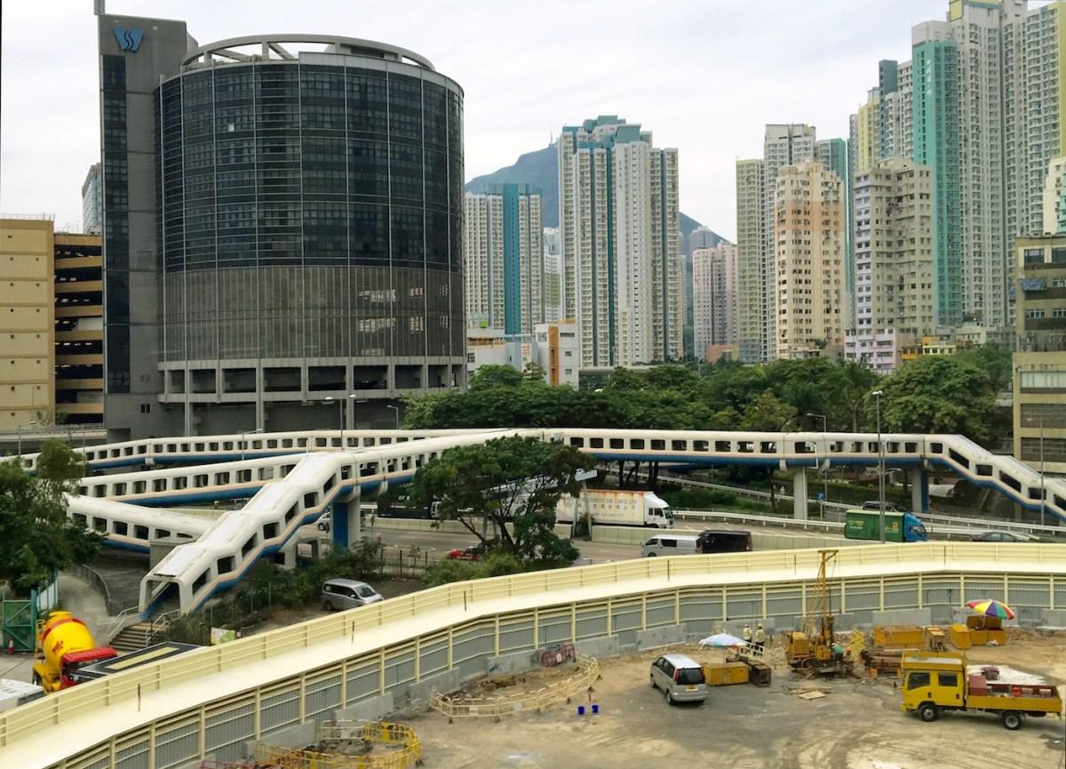 A footbridge or a train on Wai Yip street Kowloon Bay