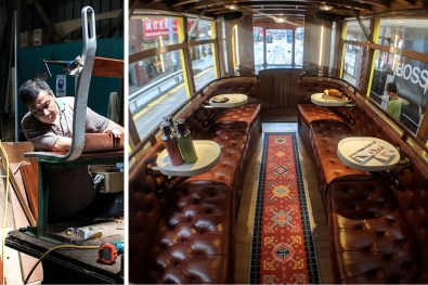 The Circus Tram's plush interiors could not be more different to typical tram seating. Photos by Billy Potts