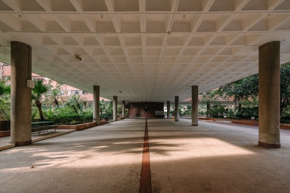 Courtyards and sheltered open-air spaces define the campus