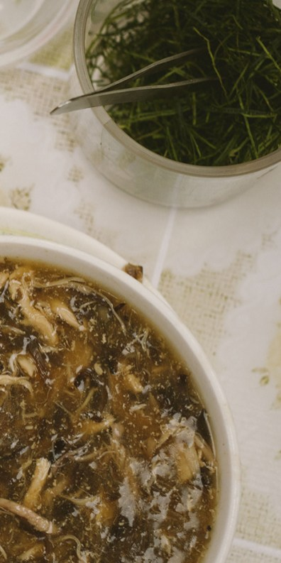 Snake soup and dried kaffir lime leaves