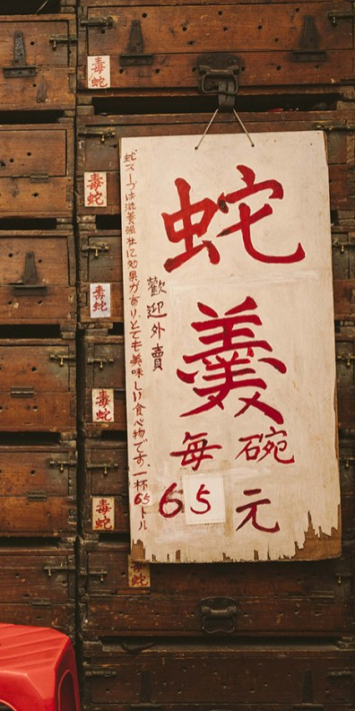 "Menu with ""snake soup"" written in calligraphy"