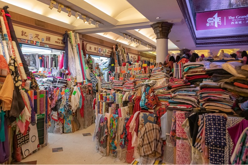 Fabric vendors were relocated to the market from Wing On Street