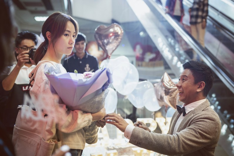 Edward (Chu Pak-hong) surprises Fong (Stephy Tang) with a grand, if misguided, gesture