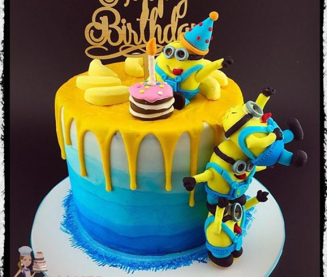 Minion Drip Cake Minion Birthday Ideas