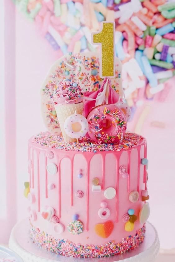 candy explosion cake with lots of prinkles