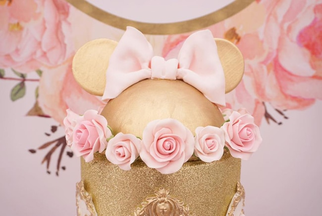 pink and gold minnie mouse first