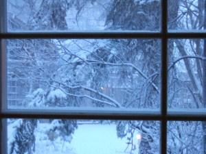 Dining room window in winter