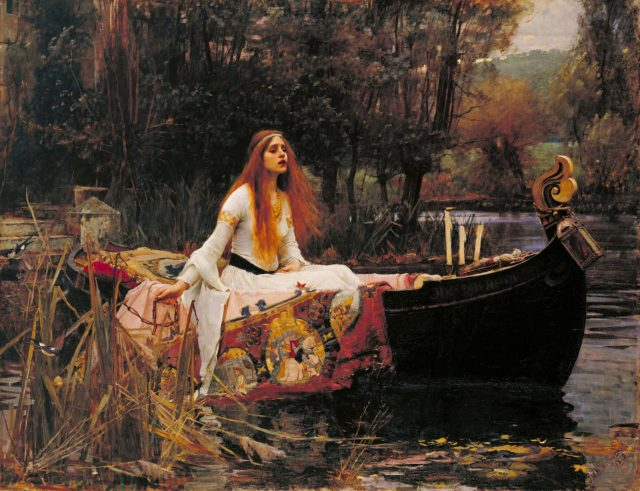 The Lady of Shalott, 1888, oil on canvas, 153 cm (60.2 in). Width: 200 cm (78.7 in).