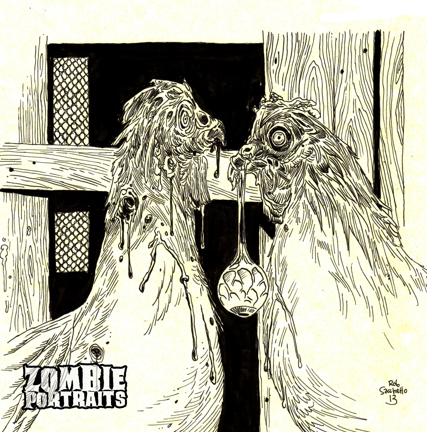 Zombie Chickens Behaving Badly - Zombie Art by Rob Sacchetto