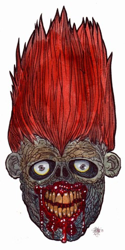 fire hair zombie head