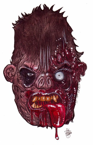 zombie art big foot head