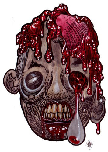 Zombie Art Hang Eye Gore Head - Zombie Art by Rob Sacchetto
