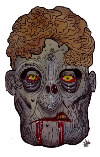 Zombie Art : Gross Granny Head - Zombie Art by Rob Sacchetto