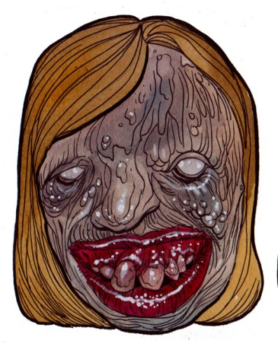 Zombie Art : Gruesome Toothsome Zombie Head - Zombie Art by Rob Sacchetto