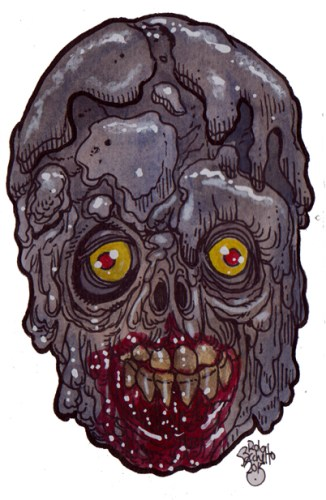Zombie Art : Caked Zombie Head - Zombie Art by Rob Sacchetto