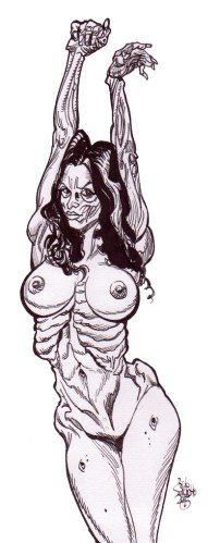 Zombie Art : Pinup Diva #190 : Fully Nude Zombie Babe Zombie Art by Rob Sacchetto