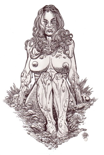 Zombie Art : Zombie Pinup Diva #191 Sitting Nude - Zombie Art by Rob Sacchetto