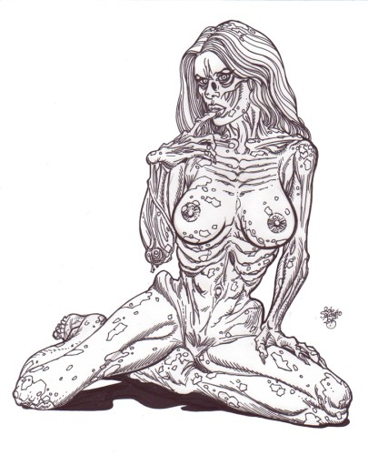 Zombie Art : Zombie Pinup Diva # Fully Nude and Crusted with Mud Zombie Art by Rob Sacchetto