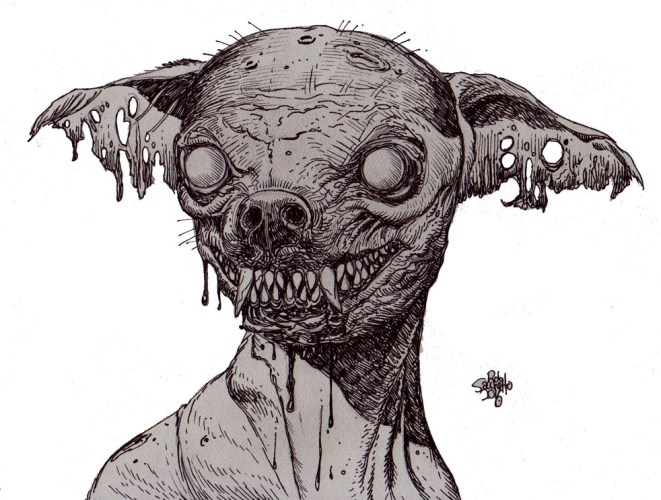 Zombie Art : Zombie Dog Smiling Zombie Art by Rob Sacchetto