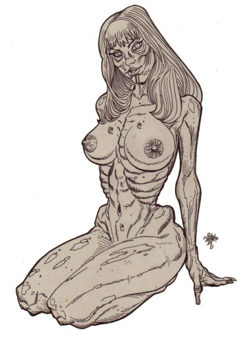 Zombie Art : Zombie Pinup Diva #199 Naked Kneeling ombie Art by Rob Sacchetto