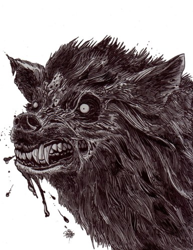 Zombie Art : Savage Wolf Zombie Art by Rob Sacchetto