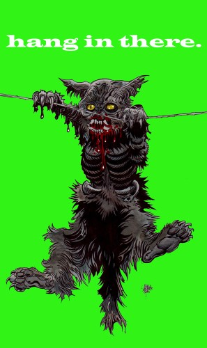 Zombie Art : Zombie Kitty 'Hang in There!' Zombie Art by Rob Sacchetto