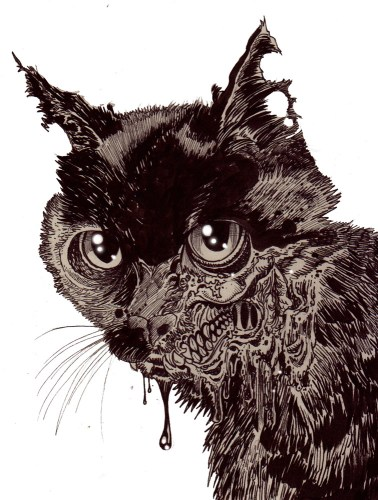 Zombie Art : Zombie Cat Head #5 Zombie Art by Rob Sacchetto