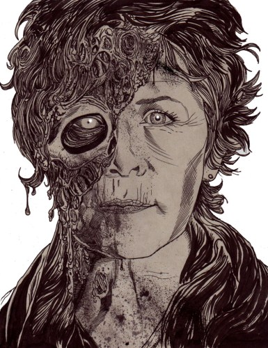 Zombie Art : Carol Zombie Portrait TWD Zombie Art by Rob Sacchetto