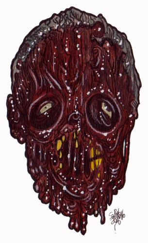 Zombie Art Gore Zone Head Zombie Art by Rob Sacchetto