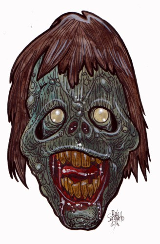 Zombie Art : Happy Dumb Nut Zombie Art by Rob Sacchetto