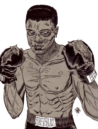 Zombie Art Muhammad Ali Portrait Zombie Art by Rob Sacchetto