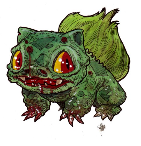 Zombie Art Bulbasaur Zombie Pokemon Zombie Art by Rob Sacchetto