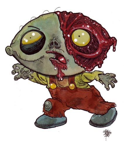 Zombie Art : Stewie Griffin Zombie Art by Rob Sacchetto
