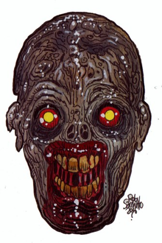 Zombie Art : Red Hot Eyes Zombie Art by Rob Sacchetto