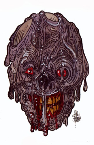 Zombie Art : Messy Face Zombie Art by Rob Sacchetto