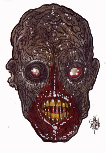 Zombie Art : Shriek Head Zombie Art by Rob Sacchetto