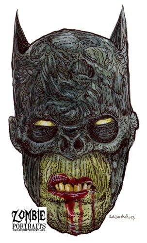 Zombie Art : Batman Head Zombie Art by Rob Sacchetto