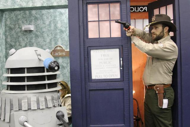 Time to call for help: Rick Grimes stepping out of the TARDIS.