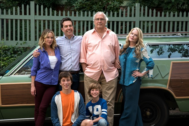 "Photo Credit: Hopper Stone (L-r) CHRISTINA APPLEGATE as Debbie Griswold, SKYLER GISONDO as James Griswold, ED HELMS as Rusty Griswold, STEELE STEBBINS as Kevin Griswold, CHEVY CHASE as Clark Griswold and BEVERLY D'ANGELO as Ellen Griswold in New Line Cinema's comedy ""VACATION,"" a Warner Bros. Pictures' release."