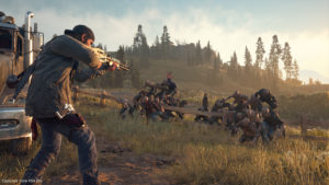 Deacon fires a gun at Freakers in the game Days Gone