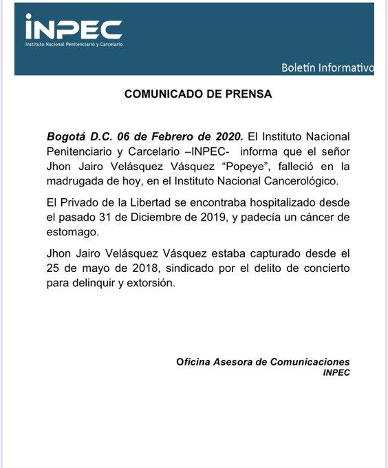 El comunicado del Inpec sobre la muerte de 'Popeye'.