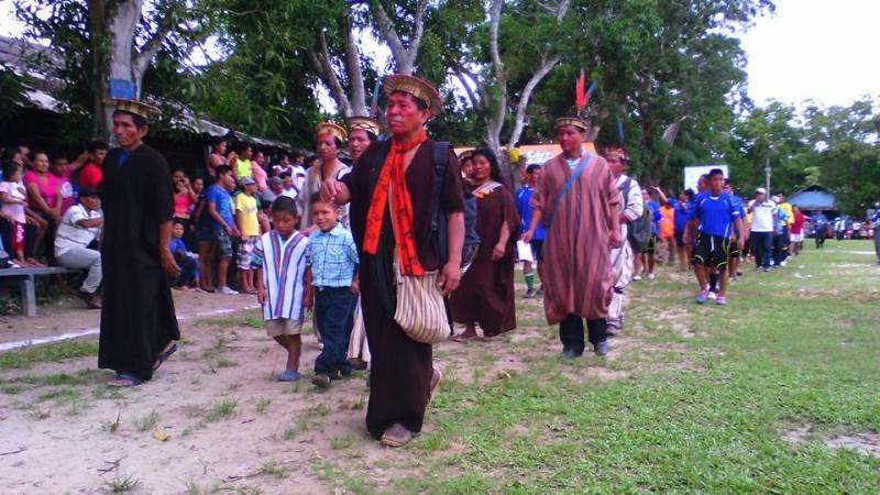 La cerimonia di apertura del Mundialito Indigeno dell'Amazzonia peruviana