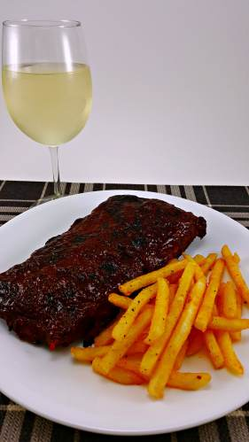 Crockpot BBQ Ribs for Two with fries and wine, yum!