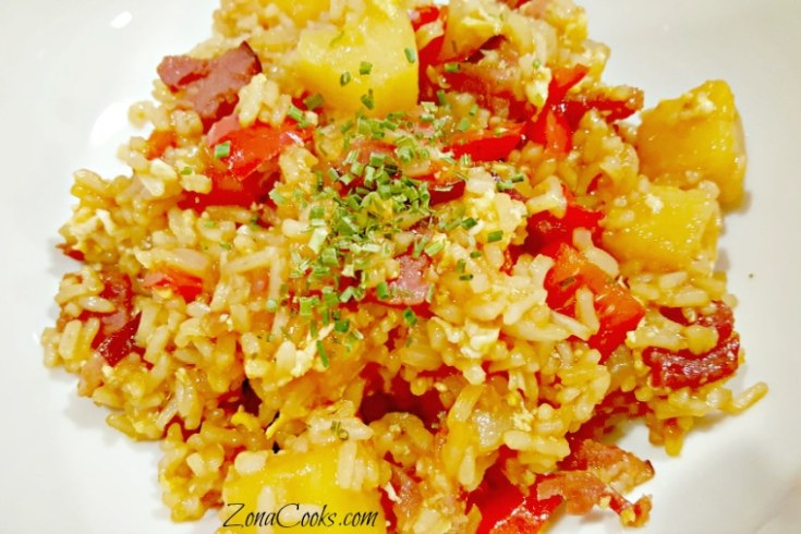 Hawaiian Fried Rice for Two with ham and pineapple