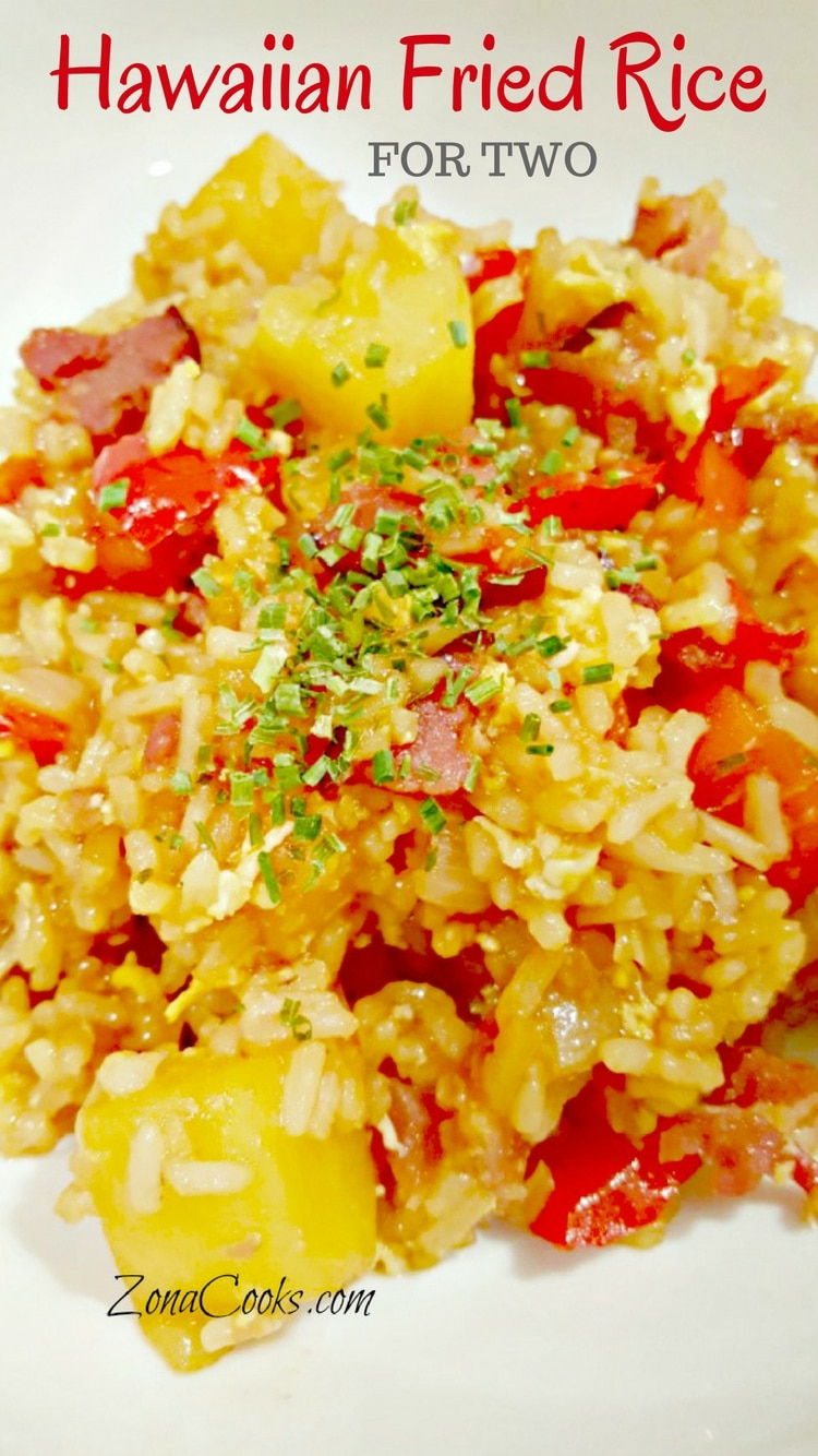 Hawaiian Fried Rice for Two - Hawaiian Fried rice is a refreshing take on the traditional fried rice we are used to. It has chunks of ham, pineapple, onion, and red bell pepper with a sweet and tangy sauce.