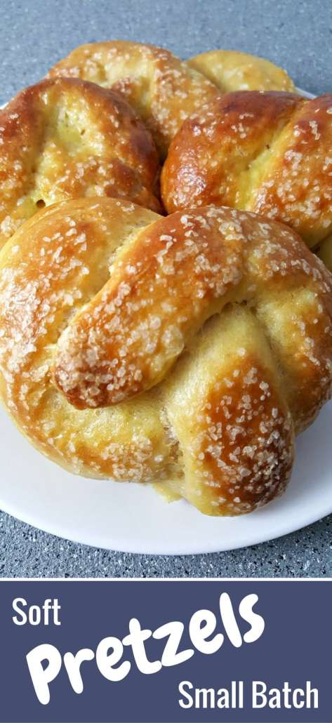 Soft pretzels are fat, decadent, warm and golden with a chewy salty crust. Serve it plain or dip it into your favorite mustard or cheese sauce. Small batch makes 4 pretzels.