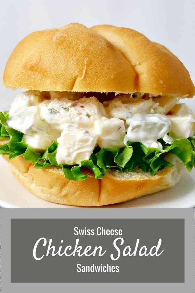 This Swiss Cheese Chicken Salad Sandwiches recipe is a great change from the old traditional chicken salad recipes. The flavors of Swiss cheese and dill pickle relish mixed in with the mayo, chicken, and seasonings gives it a fresh and tangy zip. I made it on these fresh baked rolls from my grocery bakery but we also really love it on large croissants as well.